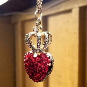 NWT Betsey Johnson Crystal Heart & Crown Necklace